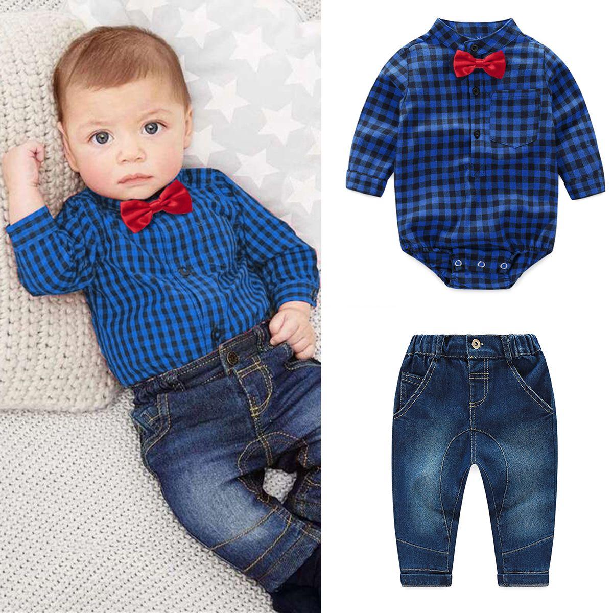 aec16fa43 Baby Boy Clothes Plaid Bow Tie Romper Jumpsuit+Jeans Pants Outfit ...