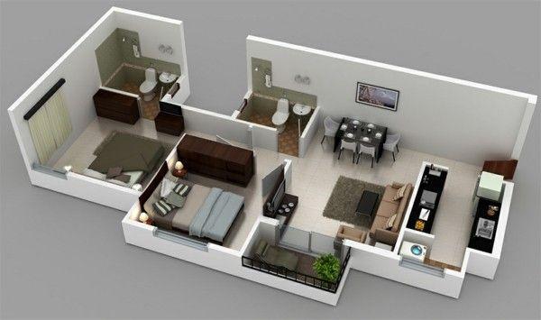 Planos de casas y apartamentos en 3 dimensiones   Diseño ...