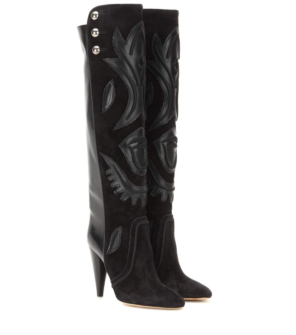 ISABEL MARANT Raven Embellished Suede And Leather Knee-High Boots.