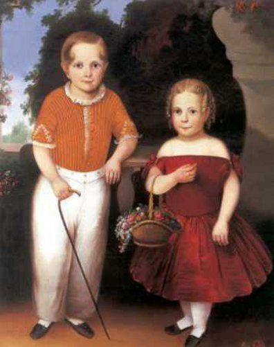 Little Boy With Walking Stick  And A Little Girl With A Basket Of Flowers - Joseph Goodhue Chandler (1813 – 1884, American)