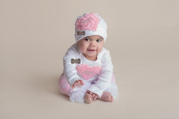 02786a383 BOUTIQUE STYLE-Baby Girl Clothing set-Newborn Photo Prop-Heart ...