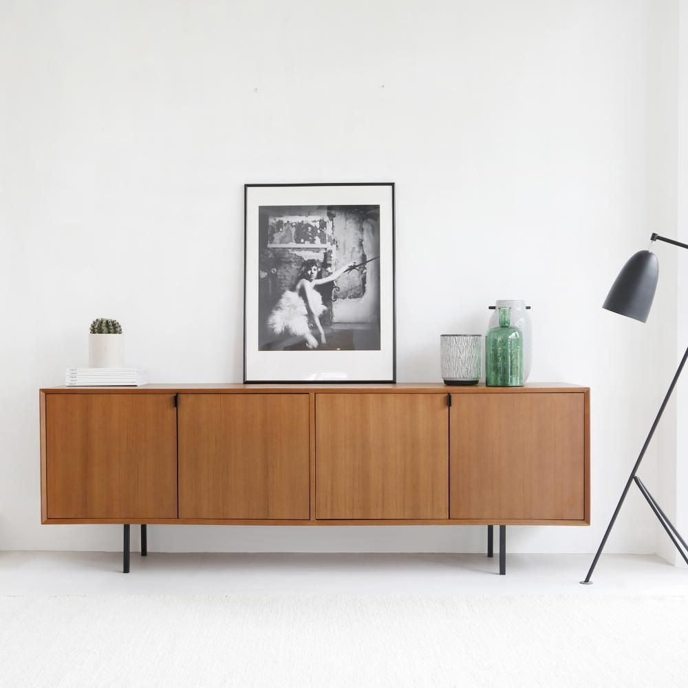 Retro Bett Retro Dressoir Salvin 200cm Teak Furnified Inspired