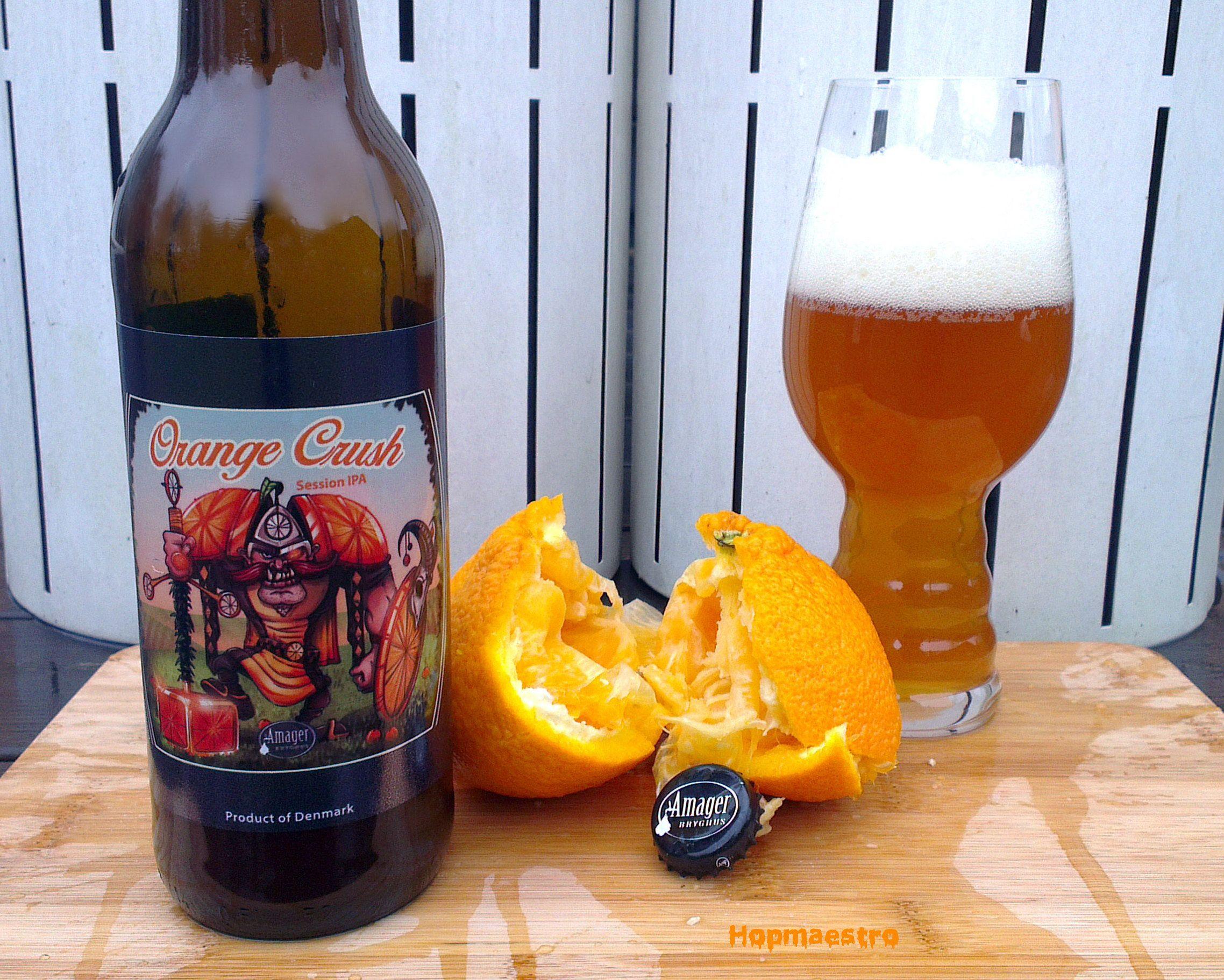 Amager/Cigar City Orange Crush (Session IPA) -- Appearance: Hazy amber/orange colour with an off-white head. Aroma: Citrus, grapefruit, oranges, caramel. Body: Medium body and carbonation. Flavour: Grapefruit, grass, fruit, oranges, floral.