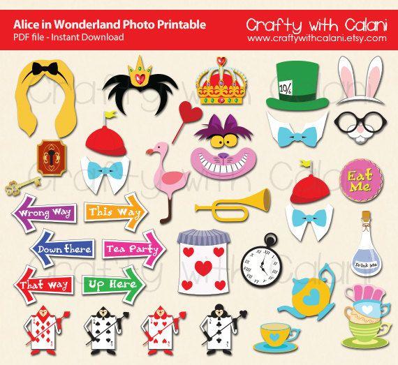 Alice in Wonderland Photo Booth Prop, Children Party Photo Booth Prop, Instant Download, Party Printable