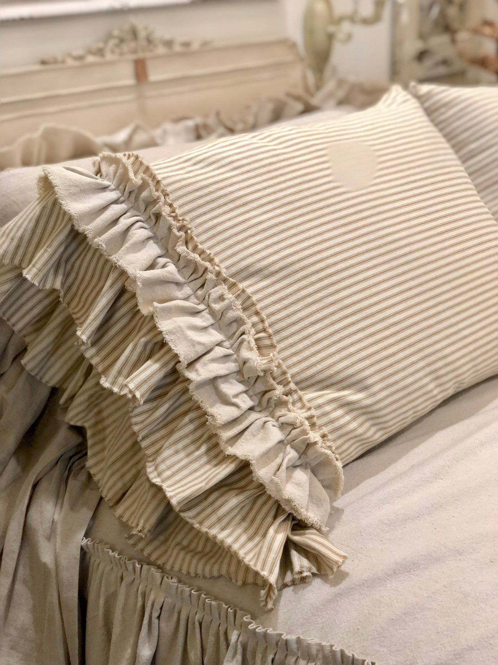 Photo of A Pair of Canvas Pillows Covers Stripe Light Brown Beige with Long Ruffles Bedding Decor Handmade French Country Farmhouse Wedding Birthday