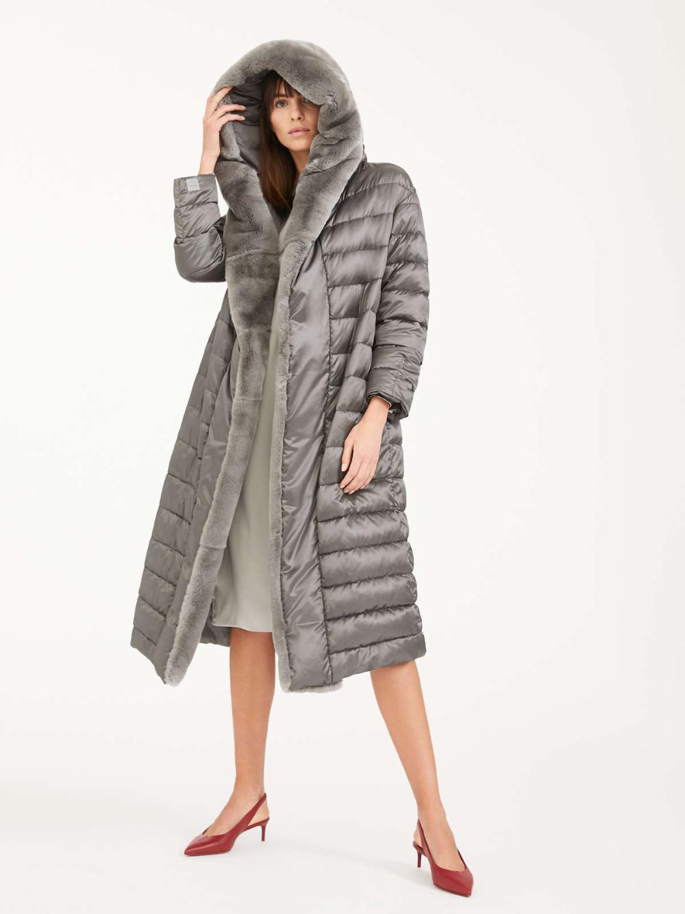 Reversible Down Coat In Water Repellent Satin Medium Grey Novelap Max Mara Down Coat Coat Water Repellent [ 1333 x 1000 Pixel ]