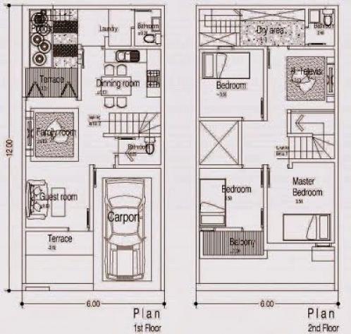 Denah Rumah Minimalis 2 Lantai Tanah 6x12 M2 Terbaru 2014 Shedplans House Plans House Floor Plans Minimalist House Design