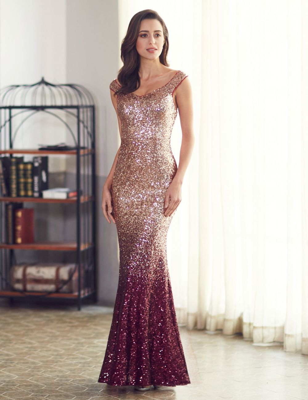 48569a7a173 Long Sparkle Evening Party Dress Ever Pretty 2017 New V Neck Women Elegant  EP08999 Sequin Mermaid