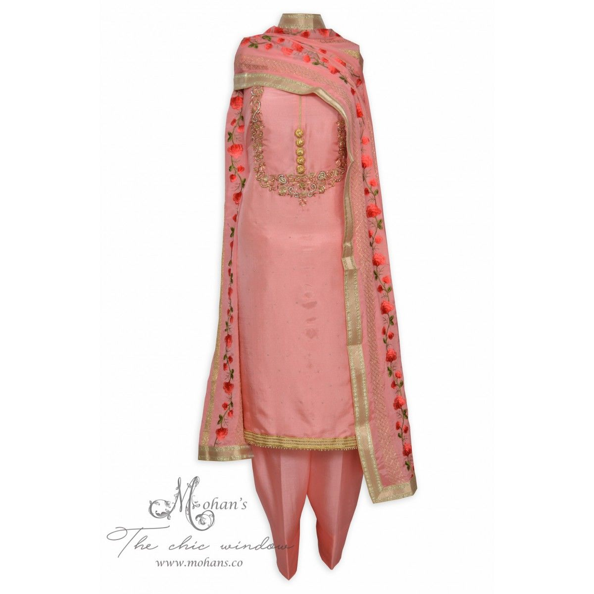 Regal pink unstitched suit adorn in exquisite handwork-Mohan\'s the ...