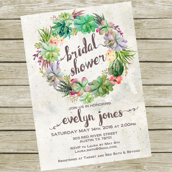 Succulent bridal shower invitation this is a 5x7 digital jpeg file succulent bridal shower invitation this is a 5x7 digital jpeg file this listing is stopboris Choice Image