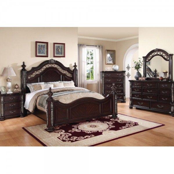 Charleston Bedroom Bed Dresser Mirror Queen Merlot 65860
