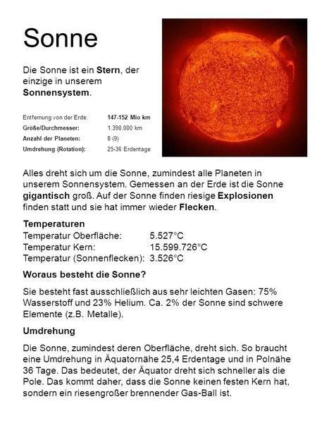 Sonne Die Sonne ist ein Stern, der einzige in unserem Sonnensystem ...