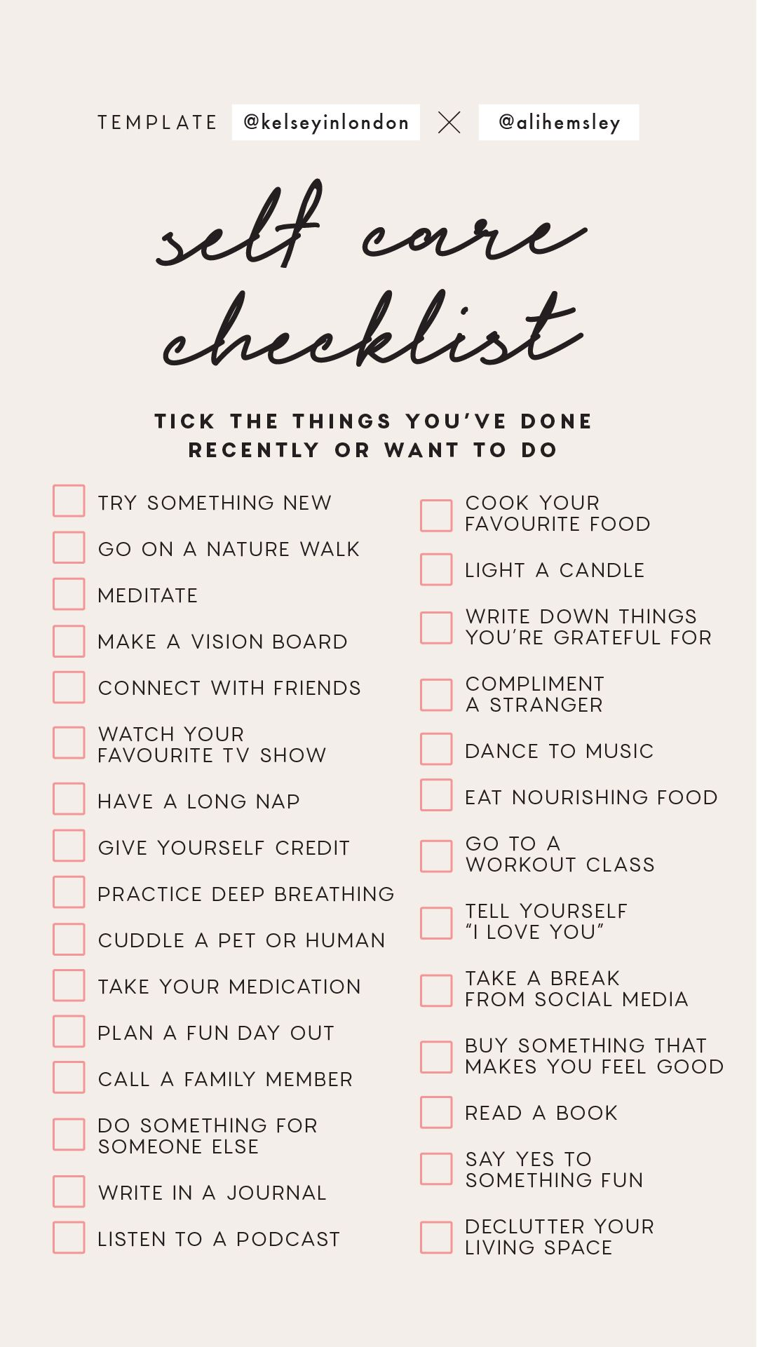 Instagram Story Template Self Care Checklist template