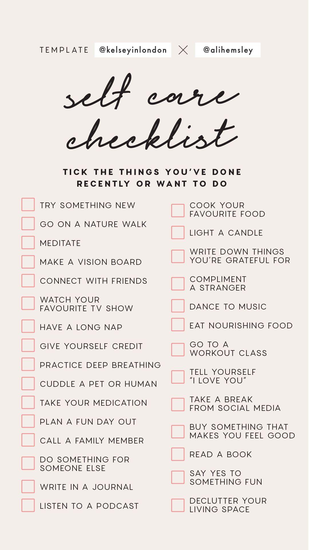 Instagram Story Template Self Care Checklist