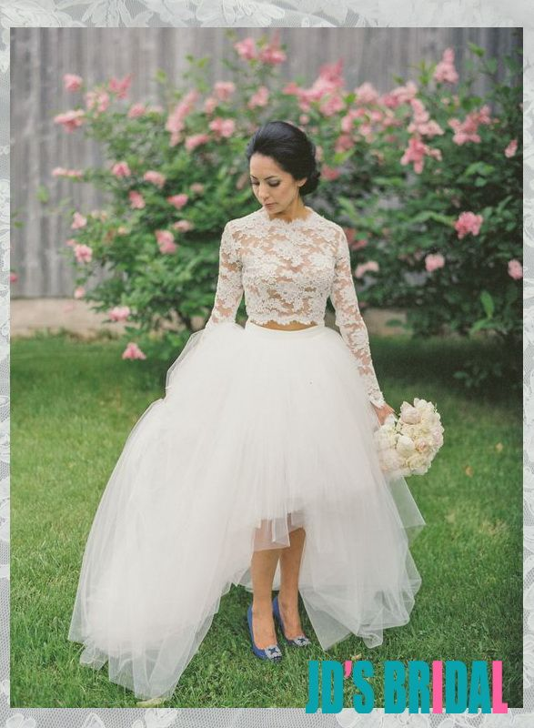 Sexy Semi Sheer Lace Top Tulle Skirt Two Pieces Wedding Dress