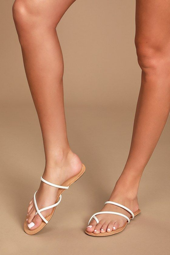 Krysti White Toe-Loop Flat Sandals