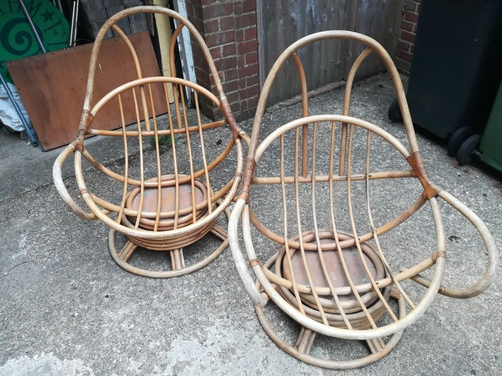 Vintage bamboo egg chairs x2 | Chair, Occasional chairs ...