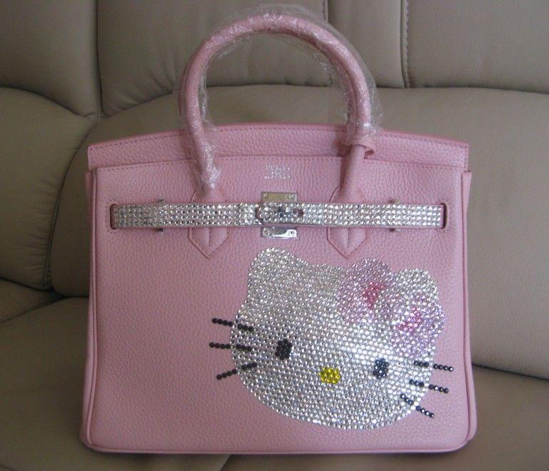 Hermes Birkin bag with Swarovski crystal bling hello kitty(pink ... 5d6aa472396d2