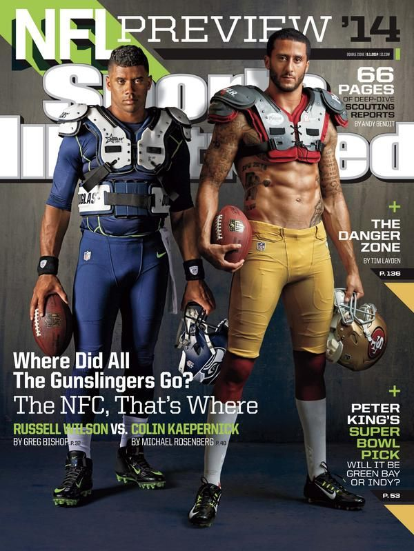 51132849 Colin Kaepernick and Russell Wilson sharing the SI NFL Preview Cover ...