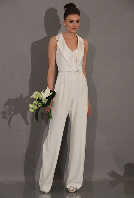Brides.com: . Style 881236, sleeveless silk wedding jumpsuit with a v-neckline and inset sweetheart bodice, Theia