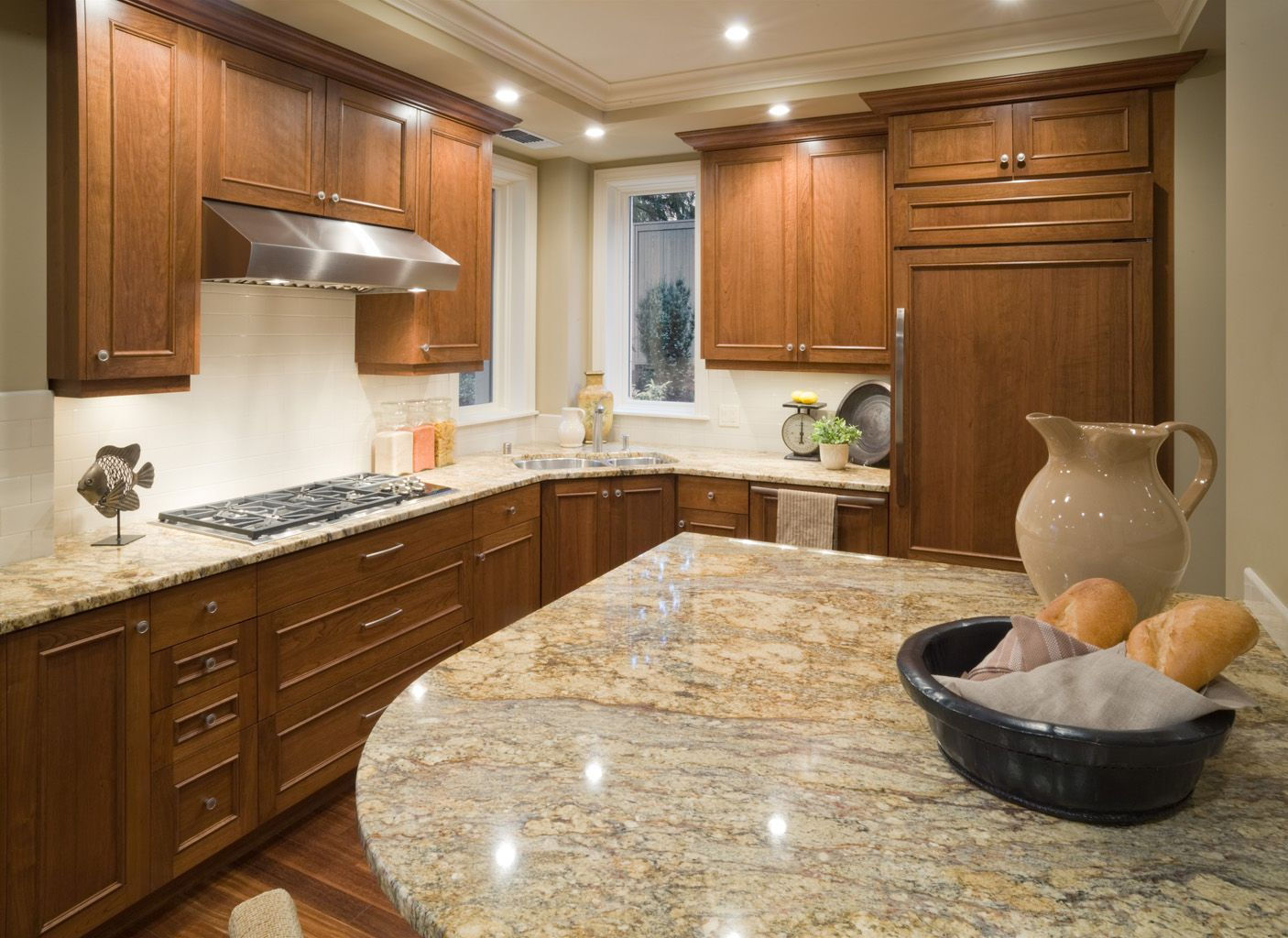 Granite backsplash slab bianco romano granite gallant Granite kitchen countertops pictures