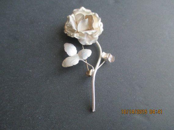 Rose Pin ..Sterling Silver..Outstanding Detail..New by johnnybbjj