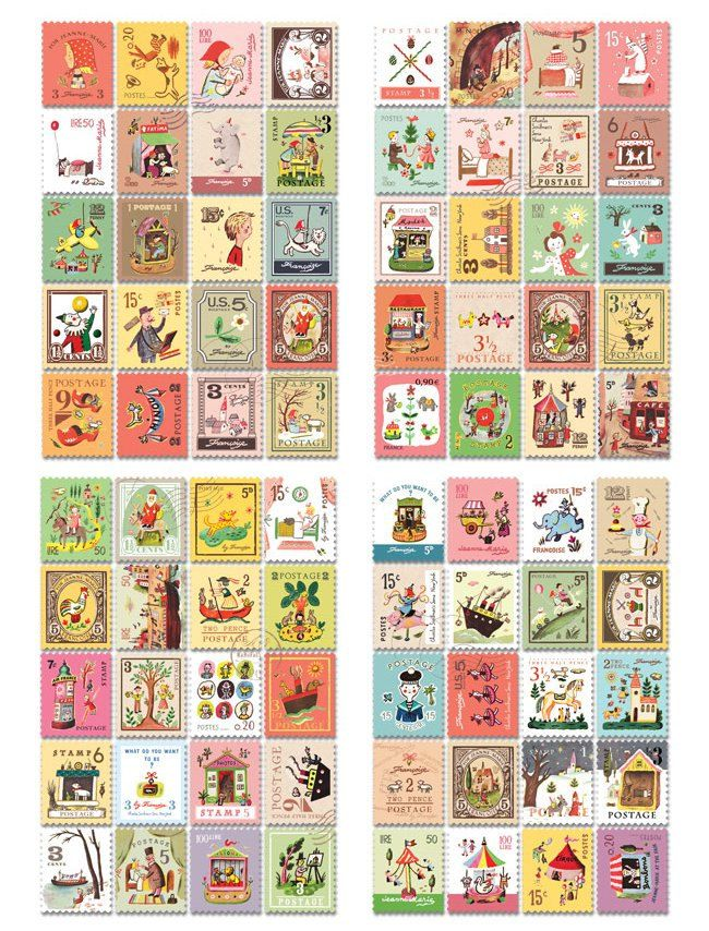 Alice In Wonderland Vintage Stamp Stickers Free UK Postage /& Packaging