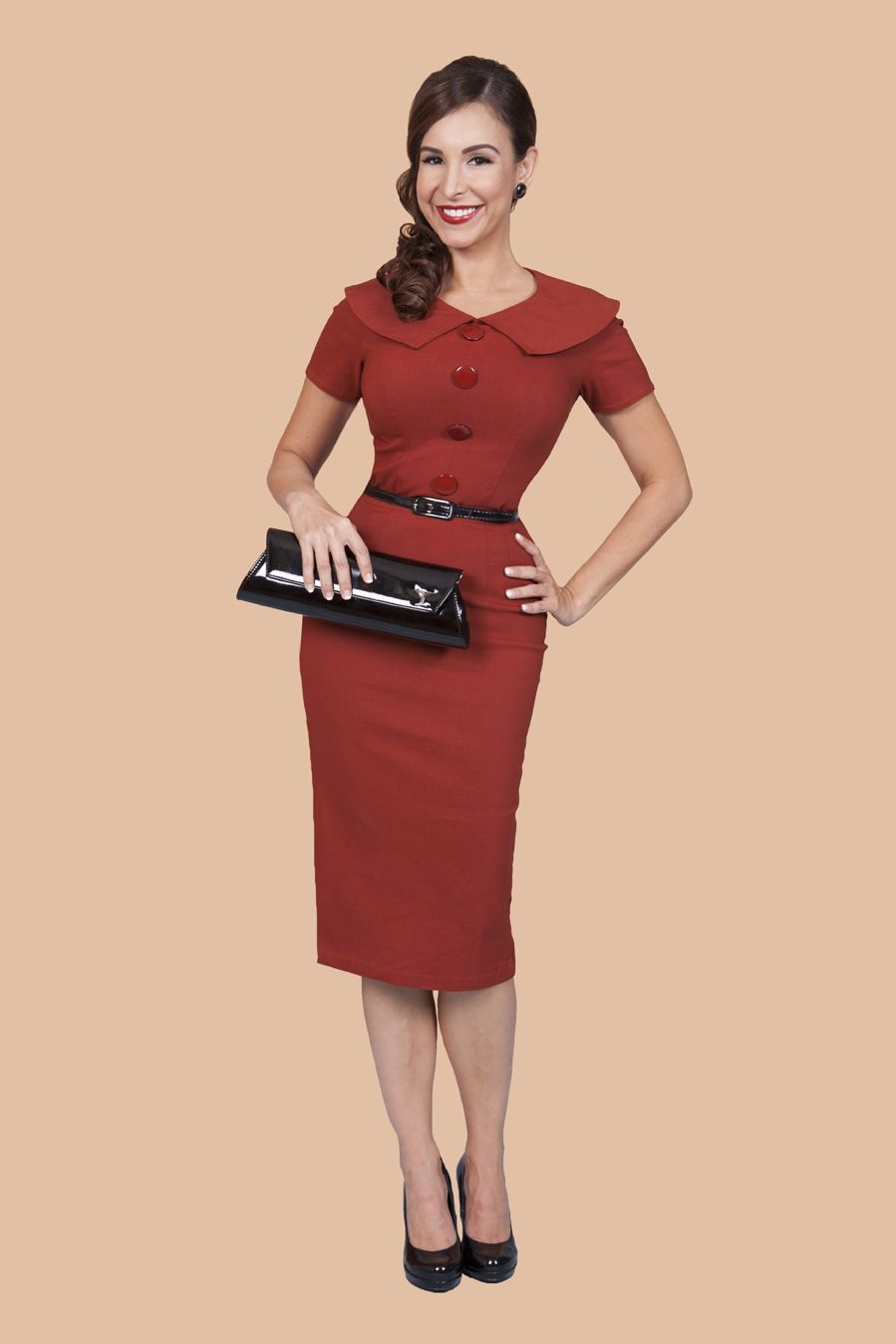 f1a55ad5d86 The Rita dress in rust. From Bettie Page Clothing. This one is on my list.