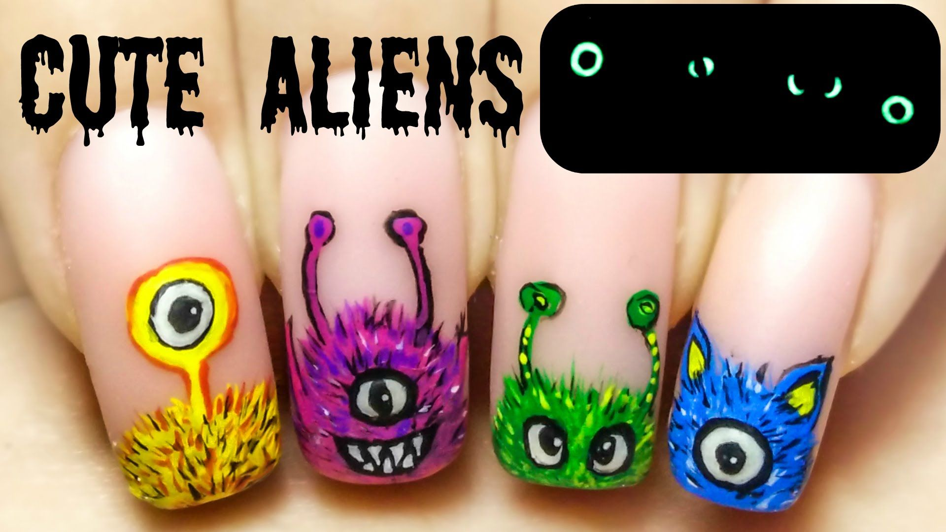 Cute Aliens ⎮ Glow in the Dark Freehand Nail Art Tutorial | Nail ...