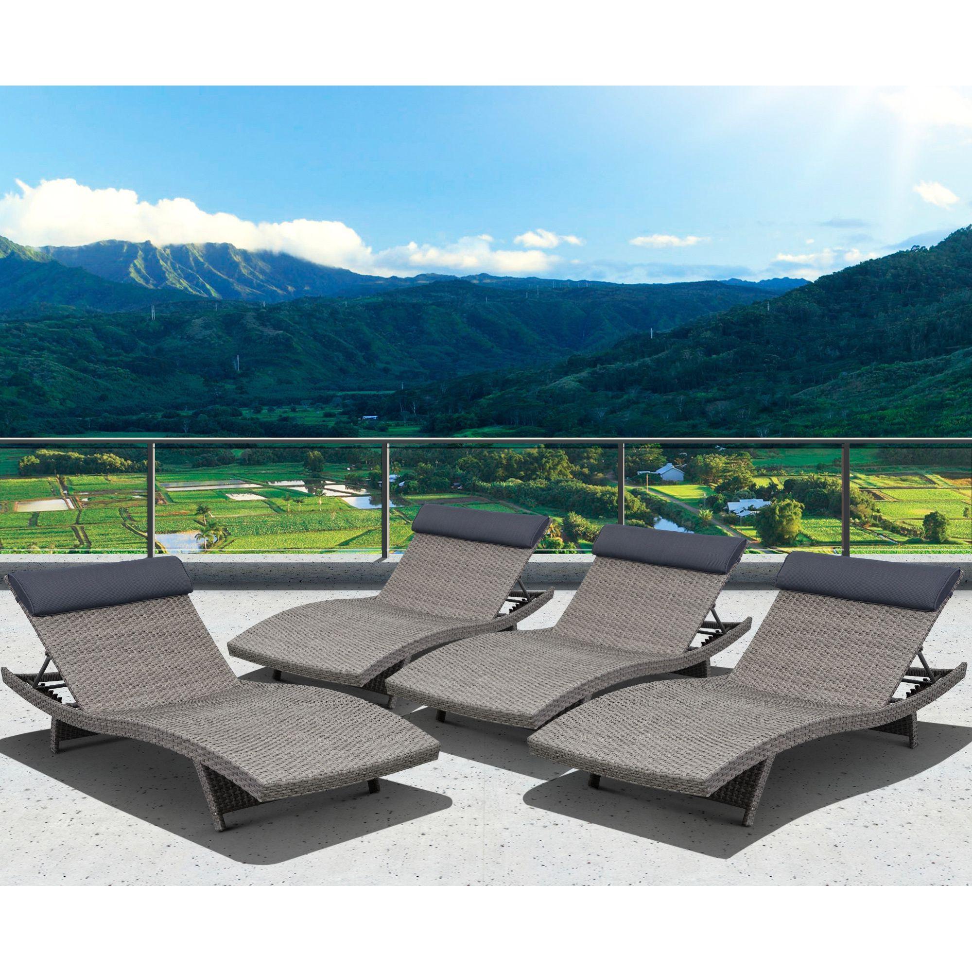 Atlantic Mykonos 4 Piece Grey Deluxe Loungers (Grey, Dark Grey, 80x30x15), Patio Furniture (Aluminum)