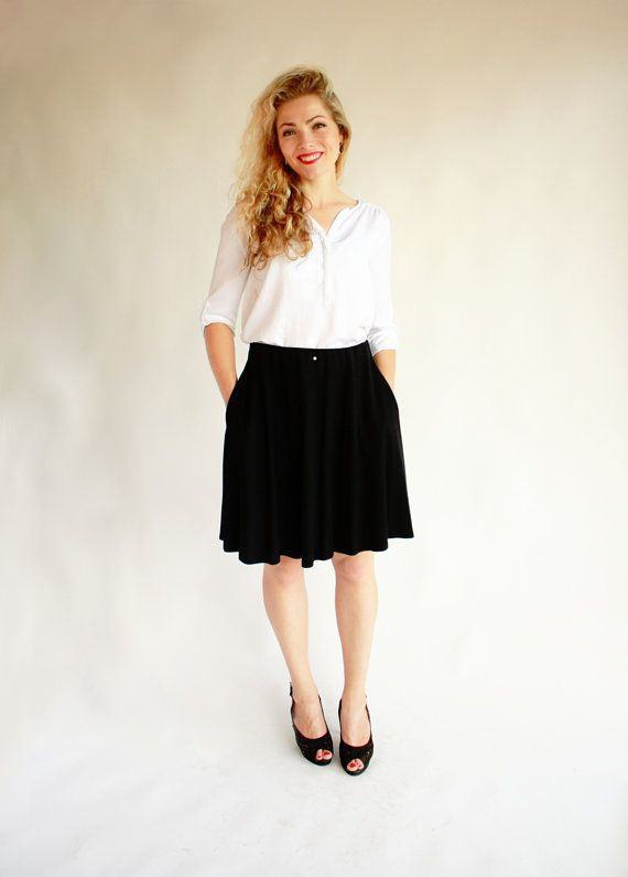 Back-to-school midi skirt with pockets midi skirt knee length skirt black  half circle skirt classic skirt flare skirt round skirt wide skirt bc0c4db9024