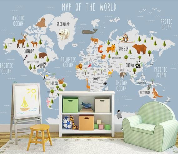 3D Kids Animal World Map Removable Wallpaper,Peel and