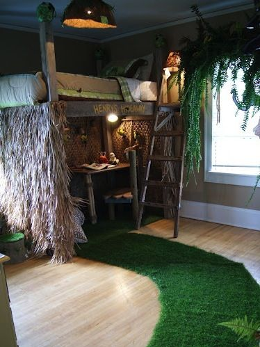 Tree House Bed In Boys Jungle Room Themed Kids Room