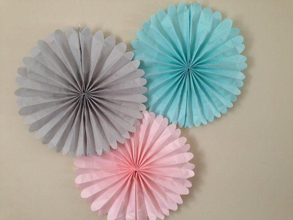 Set of 5 Tissue paper Fans nursery decor 5 pomwheels custom