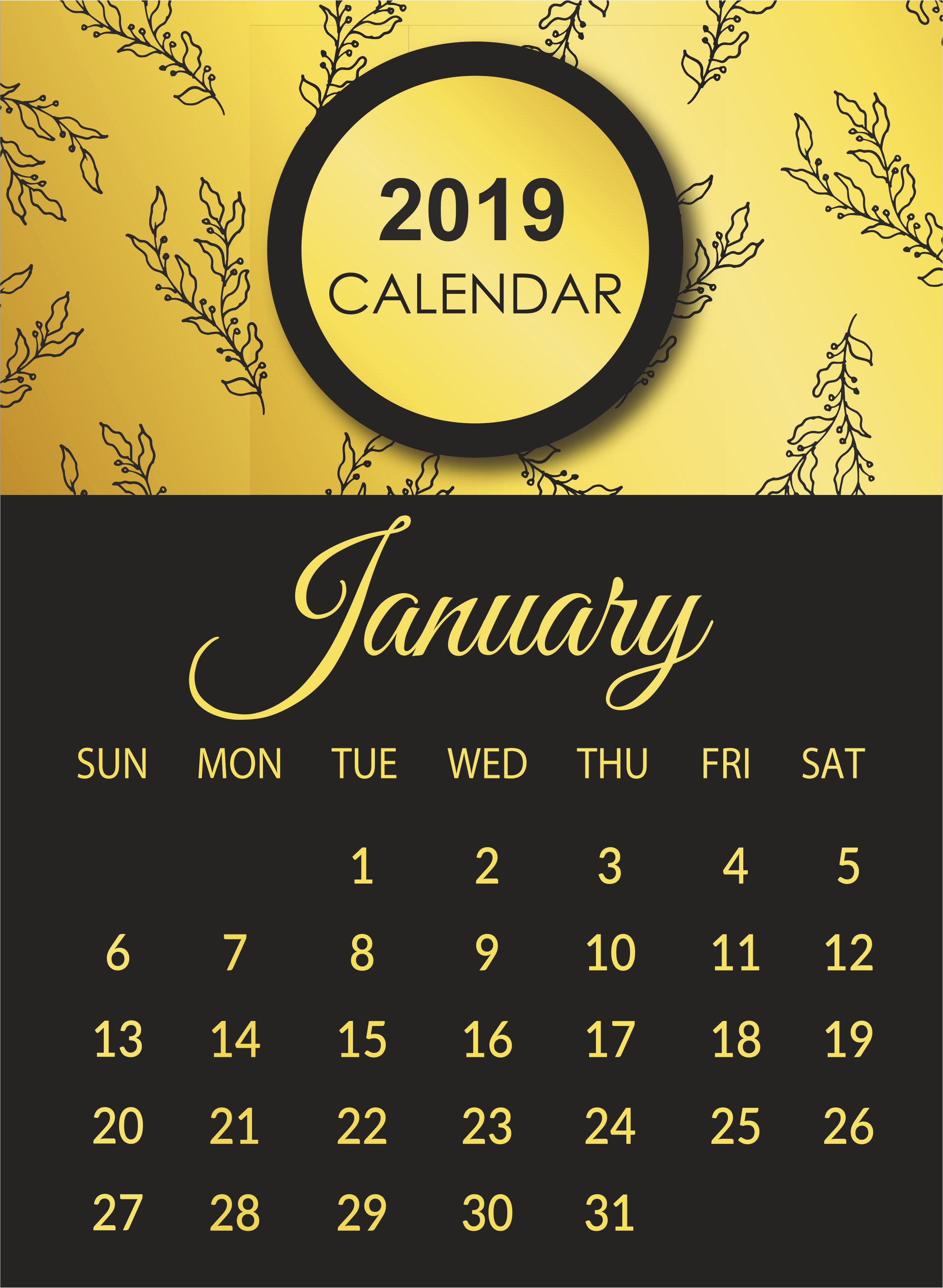 Calendar January 2019 Printable For Bills Print January 2019 Calendar Image #january #january2019