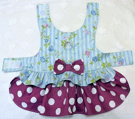 Dog Harness Dress Valentine Roses and Dots by piddleronthewoof