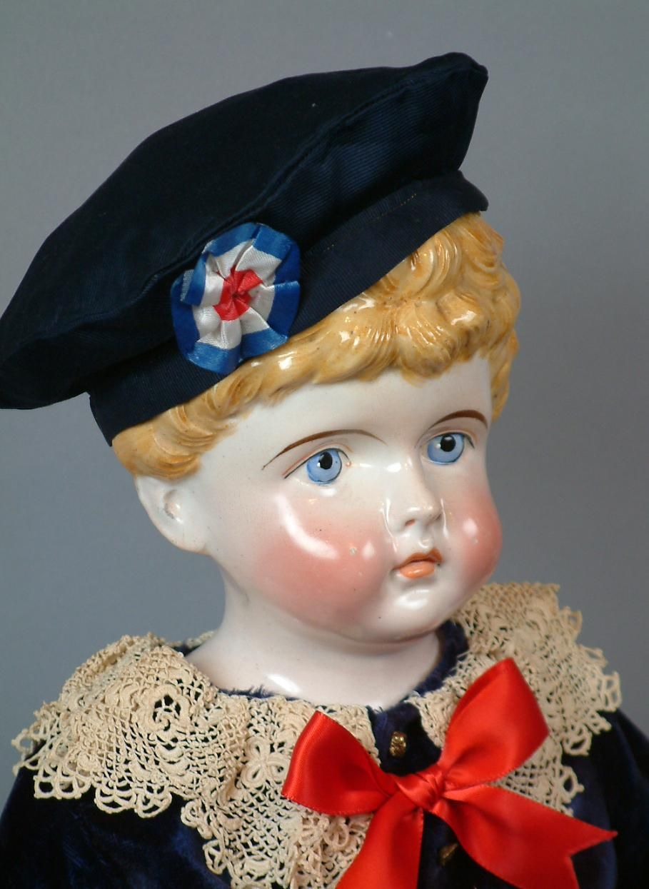 "Exquisite 28"" Pink Tint Kling China Boy In Velour Ensemble With from kathylibratysantiques on Ruby Lane"