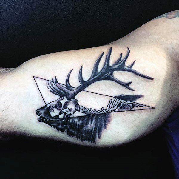 Cool Bicep Mens Deer Antler Tattoo Design | Tatoos ...