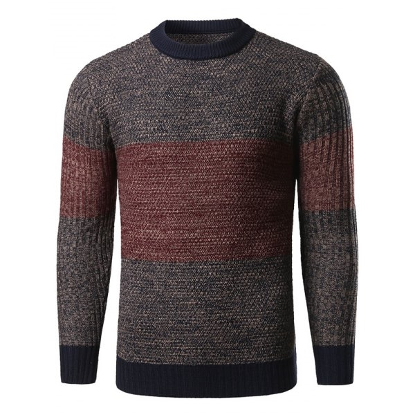26.08$  Buy now - http://diyxl.justgood.pw/go.php?t=199844806 - Color Block Splicing Crew Neck Knitted Sweater