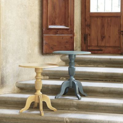 This is a rustic accent table perfect for the living room.  Love the Distressed Blue Grey or Ochre