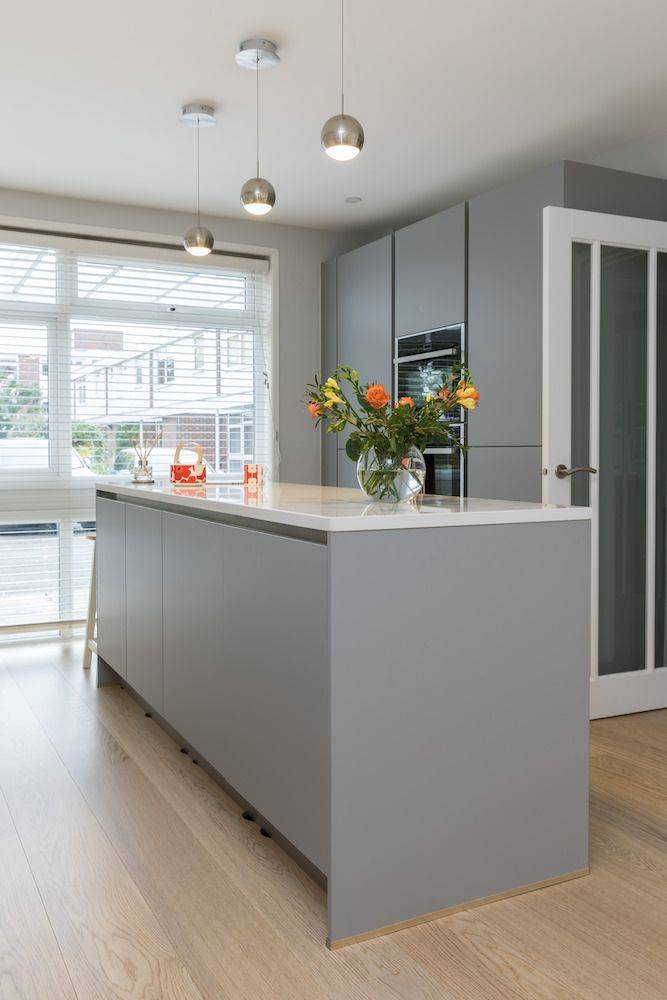 Grey Kitchen Island Lights Over Sink Pearl Design In Handleless Finish