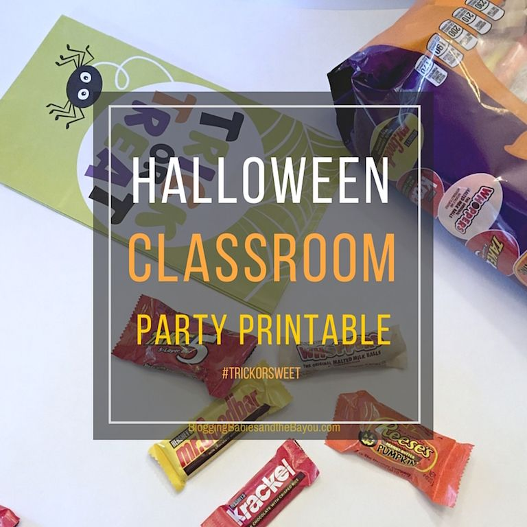Create a Sweet Halloween Trick or Treat Party Idea - Halloween Printable plus 1-2 pieces of Hershey's Candy available at @walmart  #TrickorSweet #ad