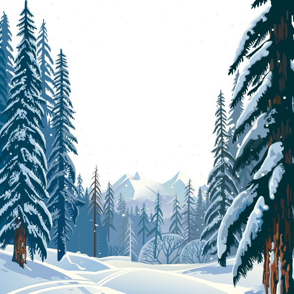 Vector Winter Forest, Winter Clipart, Hd, Vector PNG