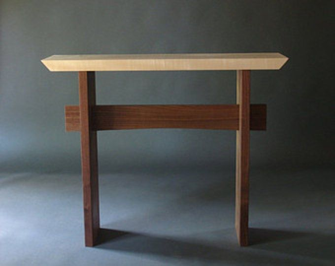 Narrow Side Table W Live Edge Stretcher Small Console Modern