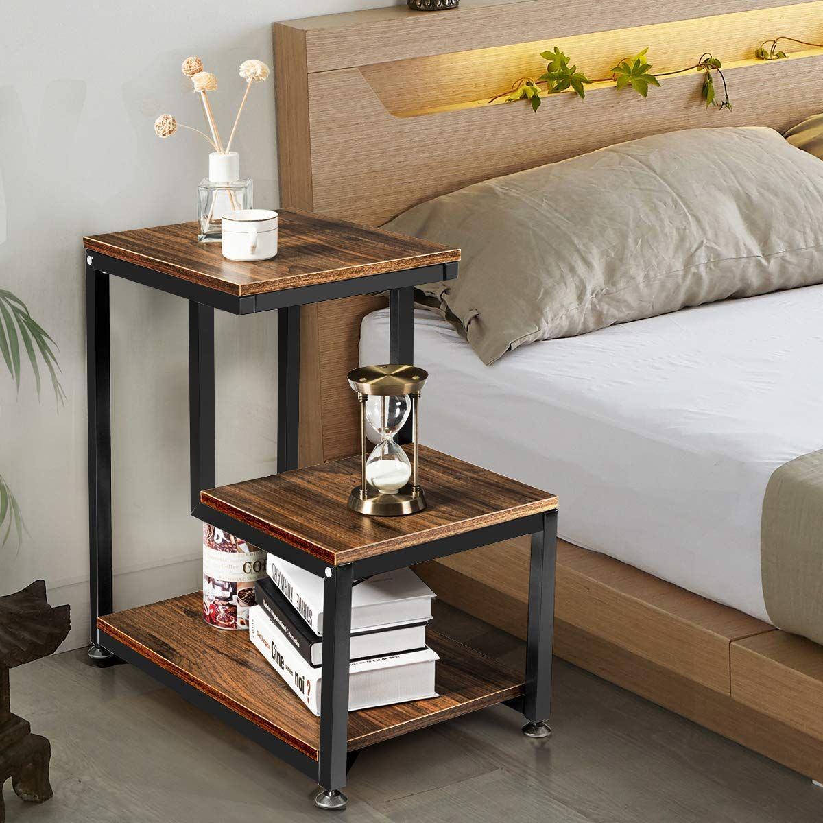 3 Tier Rustic Metal Frame Nightstand With Storage Shelf Living Room Side Table Chair Side Table Sofa End Tables