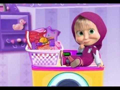 ماشا والدب ماشا تغسل الملابس العاب كرتون ماشا والدب للاطفال جديدة كاملة Toy Chest Lunch Box Storage Chest