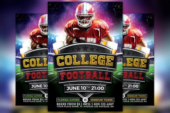 College Football Flyer Template  Flyer Template Template And