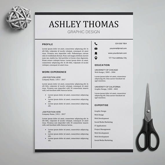 Professional Resume Template, Resume Instant Download, 3