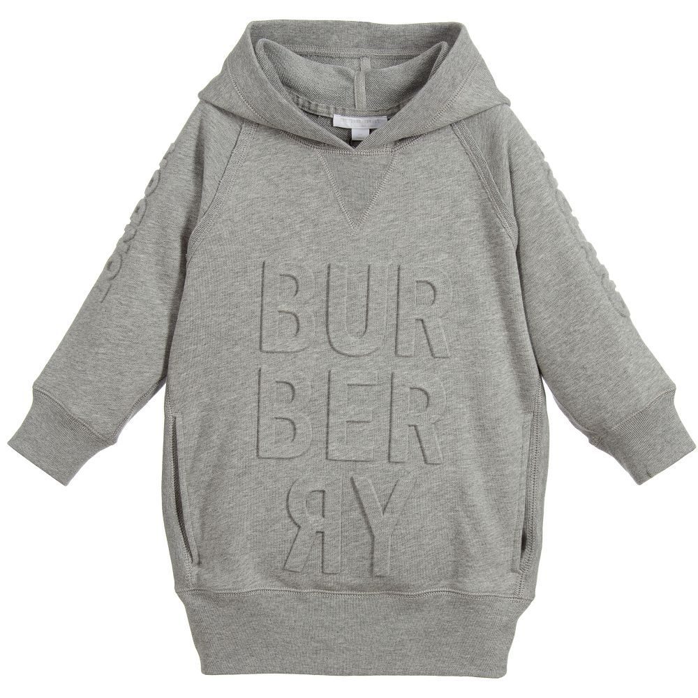 ba319dfe5 Girls embossed grey sweatshirt dress by Burberry. Made in mid-weight cotton  jersey,