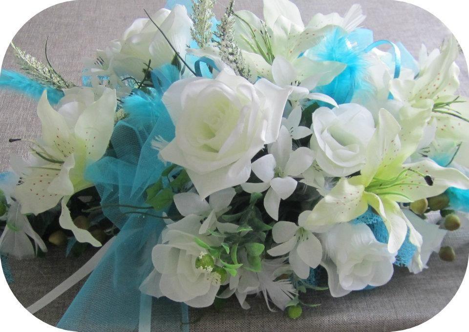 Centre de table mariage turquoise et blanc mariage pinterest mariages turquoises centre - Centre de table bleu turquoise ...